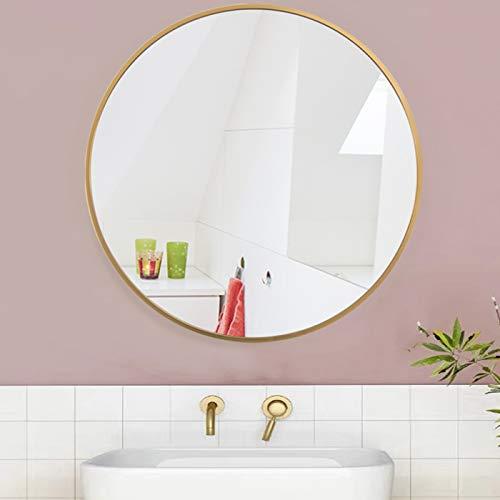 AUFHELLEN Rund Spiegel mit Kupfer Metallrahmen HD Wandspiegel aus Glas 50cm für Badzimmer, Ankleidezimmer oder Wohnzimmer Schminkspiegel (Kupfer, 50cm)