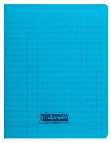 Calligraphe 18102C - Un cahier piqué (gamme 8000 de Clairefontaine) 48 pages 17x22 cm 90g grands carreaux, couverture polypro (plastique), Bleu