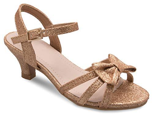Price comparison product image Olivia K Girl's Glitter Leatherette Open Toe Strappy Ankle Strap Kitten Heel Sandal (Toddler / Little Girl),  Rosegold Y4