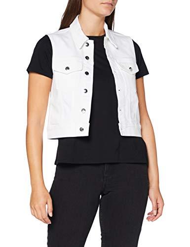 Calvin Klein Vest Chaqueta vaquera, Blanco (Da085 White Embroidery 1cd), XS para Mujer
