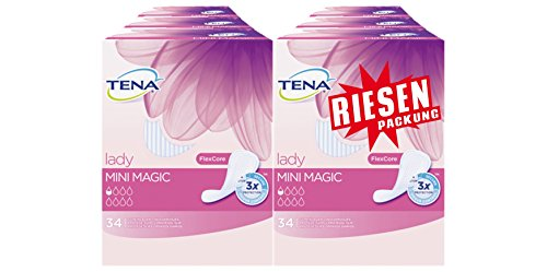 Tena Lady Mini Magic Einlagen, Riesenpackung (6 Packungen je 34 Einlagen)