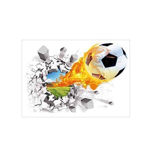 WINOMO Adesivo 3D Calcio Adesivi con Buco murale con Fiocco e Palla di Calcio
