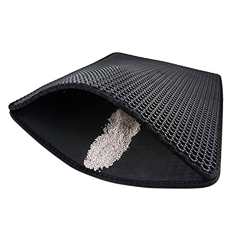 A/A LI Q P R - Alfombrilla de arena para gatos (doble capa, sin ftalato), color negro