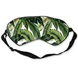 Unisex Silk Sleep Eye Mask with Adjustable Elastic Strap - Blindfold Eyeshade Light Block Soft Eye Cover for Night Sleeping, Travel, Nap, Banana Leaves
