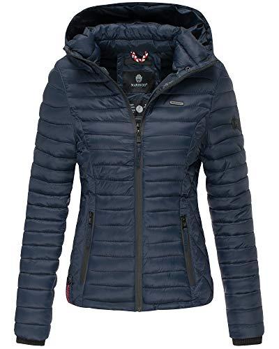 Marikoo Damen Winter Jacke Stepp Jacke mit Kapuze Übergangsjacke SMT2 (L, Blau)