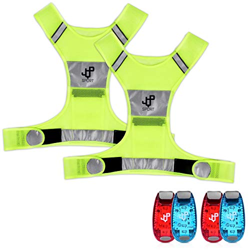 JQP Sports Running Vest and 4 LED Safety Light Sets The Perfect Waterproof Running Light and Reflective Vest Suitable for Jogging Cycling Biking Dog Walking Strobe Light