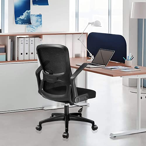 RANHOME Black Home Office Chair- Height Adjustable Modern Ergonomic Desk Chair,Comfortable Computer Swivel Mesh Office Chair with Lumbar Support and Flip-up Arms