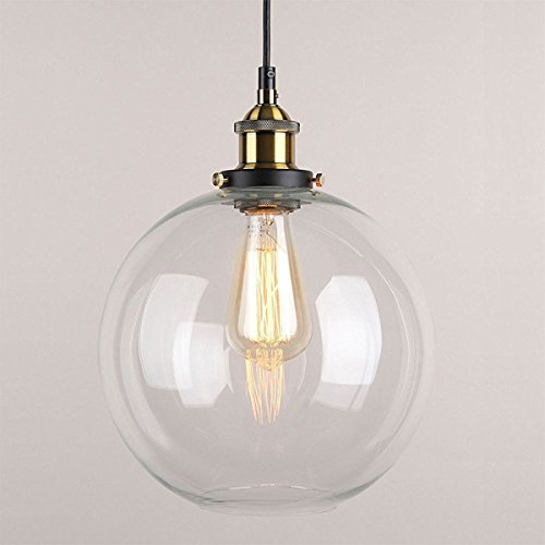 Huahan Haituo Pendelleuchte Light Vintage industriellen Metall-Finish Klarglas Glaskugel Runde Schatten Loft Pendelleuchte Lampe Retro Decke Licht Vintage Lamp(Durchsichtig,20CM)