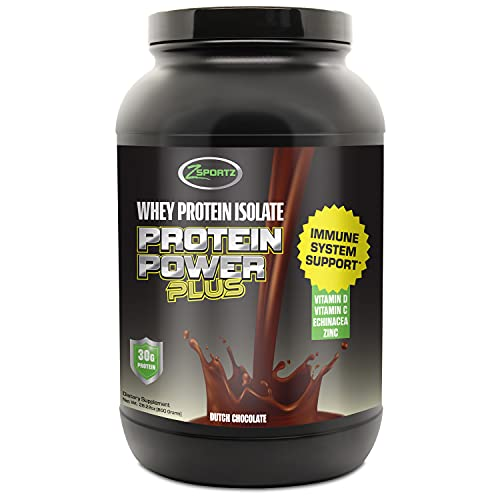 Zsportz Whey Protein Isolate Powder + Vitamin C, Zinc, Vitamin D, Echinacea for Immune System Support (30g Protein) – Keto Friendly, Low Carb, Non-GMO, Soy Free Whey Protein - Dutch Chocolate