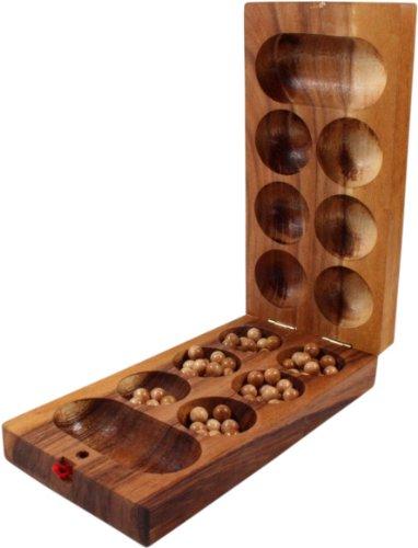 Guru-Shop Juego de Mesa, Juego de Salón de Madera - Kalaha con Canicas de Vidrio, Brown, 5x25x12 cm, Juegos de Mesa Juegos de Habilidad