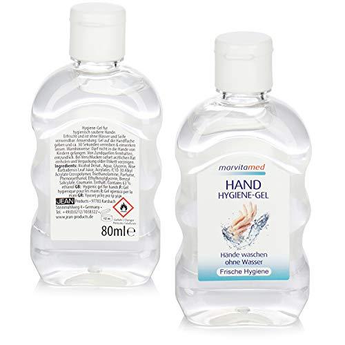 2x hygiënische handgel in een tube - handhygiënegel voor mobiele handreiniging zonder water voor onderweg - 80 ml per tube