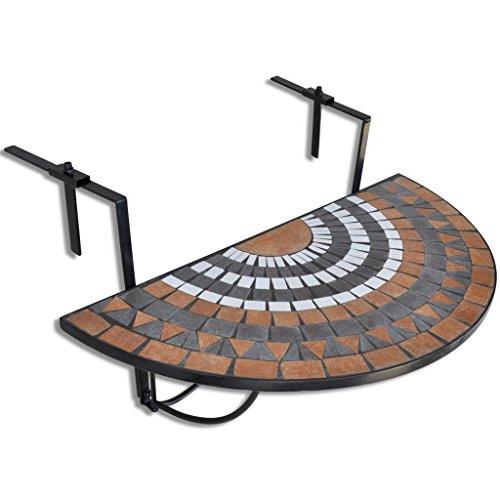 UnfadeMemory Klapptisch Balkontisch Hängetisch Halbrund Balkonhängetisch 76 x 56 x 64 cm Halbkreis-Form Kaffeetisch Beistelltisch Eisenrahmen und Keramikfliesen (Mosaik D-Schwarz/Weiß)