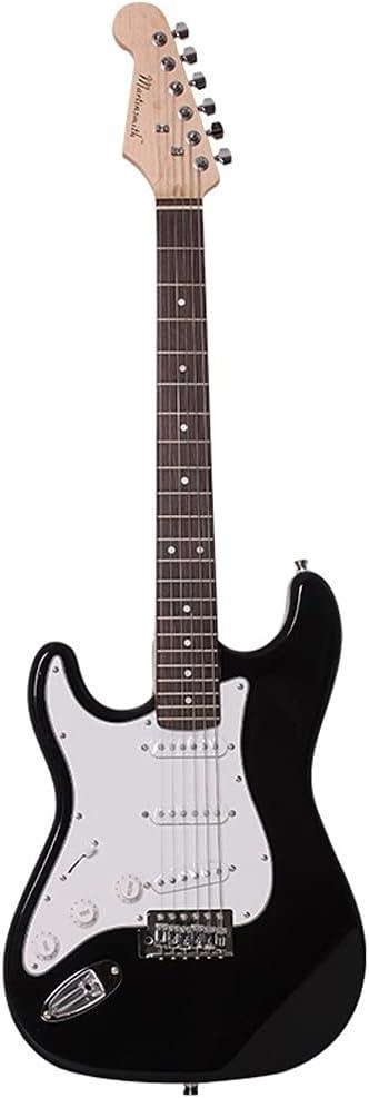 Juego de guitarra eléctrica de calidad profesional para ejercicios con bolsa, empalme en blanco y negro Guitarra eléctrica fresca para zurdos Correa para principiantes, cuerda, cable, púa, accesorios