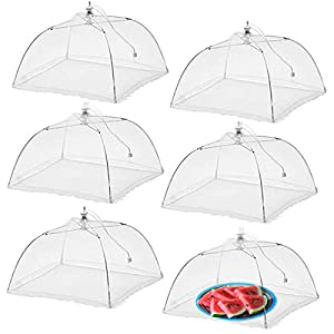 Simply Genius (6 pack) Large and Tall 17x17 Pop-Up Mesh Food Covers Tent Umbrella for Outdoors, Screen Tents, Parties Picnics, BBQs, Reusable and Collapsible