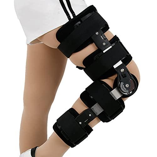 WANGXNCase Lesión de Soporte ROM de Rodilla Ajustable con bisagras - Estabilizador de ortesis - Talla única para la mayoría - Soporte de recuperación Ajustable para ortopedistas - Negro