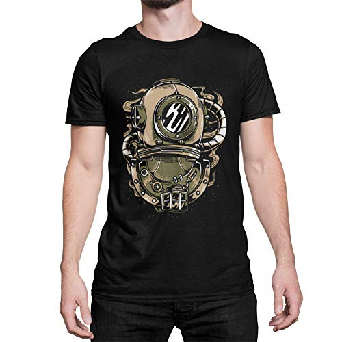 Steampunk Herren T-Shirt Aufdruck Taucher Diver Männershirt Schwarz Black in Gr. S-5XL (Schwarz, XXXL)