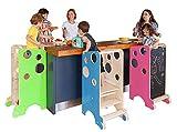 Leea torre de juego, torre di aprendizaje, mesa de actividades, silla para comer,...