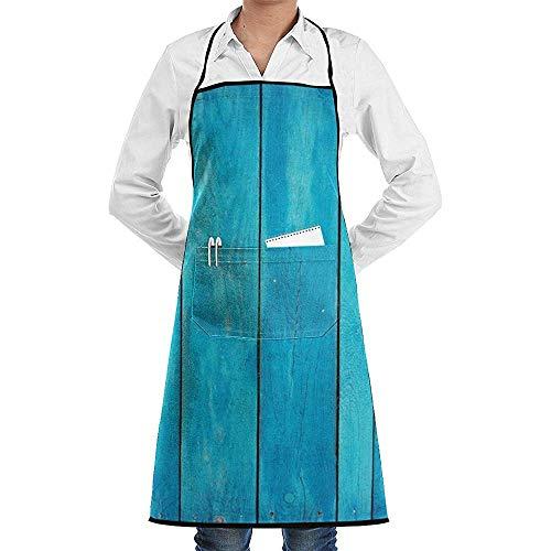 Kellnerin-Schutzbleche/Kellner-Schellfisch für Restaurant-Café-speisende Arbeit, Mode-lustiges wasserdichtes Meer-blaues altes hölzernes Eichen-Planken-gestreiftes Holz-Schutzblech