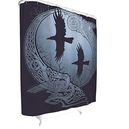 Zhcon Viking Bedruckt Duschvorhänge Wasserabweisend Anti-Schimmel Shower Curtain Badewannenvorhang Wohnaccessoires White 180x200cm