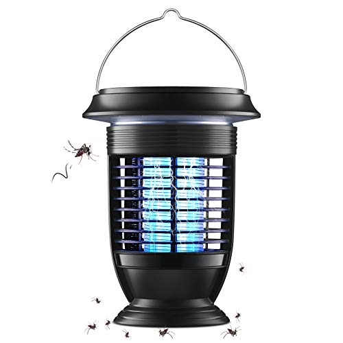 AiMoxa Self-Cleaning Bug Zapper & Mosquito Zappers for Outdoor and Indoor - Waterproof Insect Fly Pest Attractant Trap, Powerful Electric for Backyard, Patio - Hangable Black, USB Solar Lantern