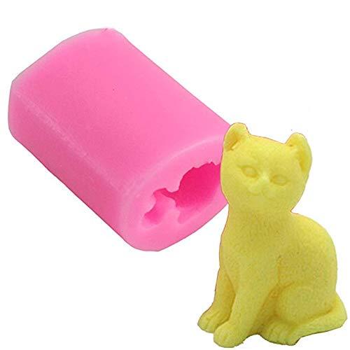 Suneast 3D-Katzen-Silikonform für Schokolade Seifen Kuchen Cupcakes Süßigkeiten Fondant-Formen Eiswürfel Bastelprojekte zur Kuchen- und Tortenverzierung Backutensil - Pink