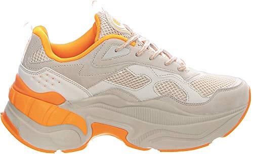 Buffalo Damen Sneaker Crevis P1, Frauen Low-Top Sneaker, Halbschuh strassenschuh schnürer schnürschuh sportschuh Plateau-Sohle,BEIGE,39 EU / 6 UK