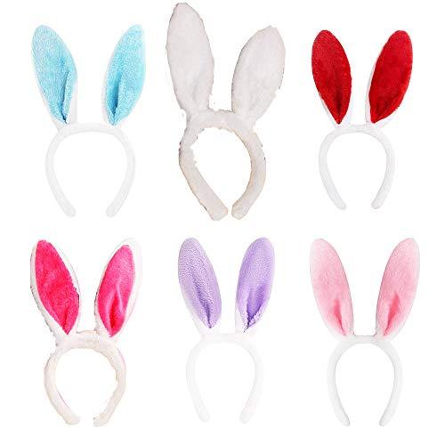 6pcs Bunny Ears Coniglio Fascia Per Bambini Giorno Coniglio Forma Copricapo Puntelli Prestazioni Bunny Girl Peluche Coniglio Orecchio Fascia per Pasqua Costume Party Dress Up Decorazione