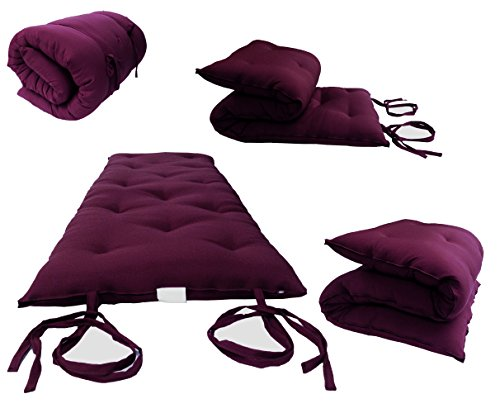 D&D Futon Furniture Queen Size Burgundy Traditional Japanese Floor Futon Mattresses, Foldable Cushion Mats, Yoga, Meditaion 60