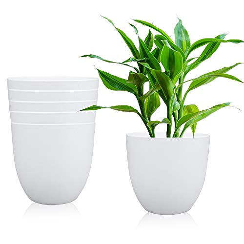 7 Inches Plastic Round Garden Pot, Fashionable Planters, Plant Pots, Gardening Containers, Perfect for Yard/Garden/Office/Bathroom/Kitchen/Flower/Succulents, Set of 6 (White)