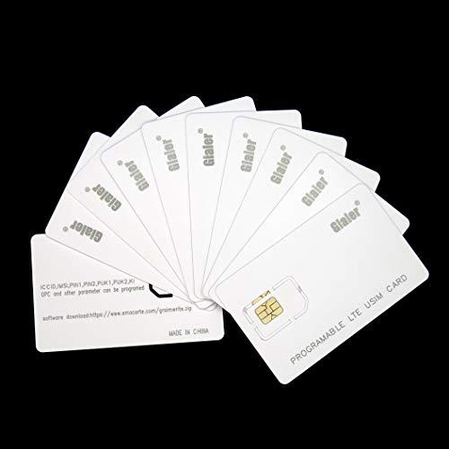 Gialer 10pcs Writable Programmable SIM Card 4G LTE WCDMA GSM Nano Micro 2FF 3FF 4FF Blank USIM Card for Telecom Operator(10pcs)