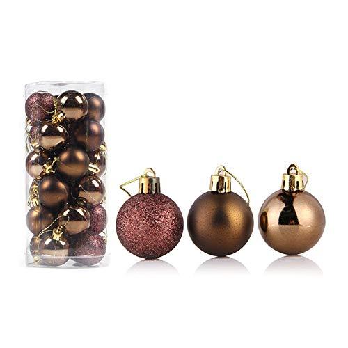 RIsxffp 24 palline di Natale, 4/6/8 cm, decorazioni per albero di Natale, finestre, decorazione da appendere, 4 cm