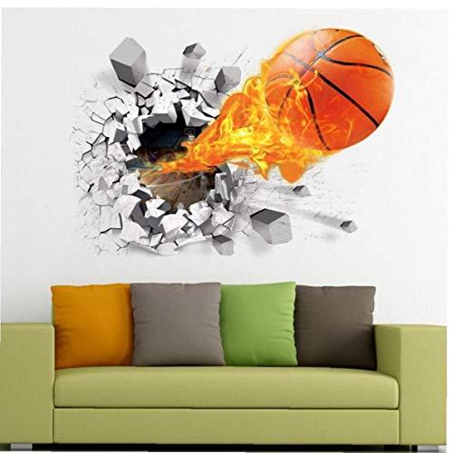 Aisoway 3D Pared Baloncesto Pegatinas Flying Fuego Baloncesto Autoadhesivo Amovible Sala De Arte De PVC Adhesivos Murales De La Decoración del Hogar Pegatinas Baloncesto