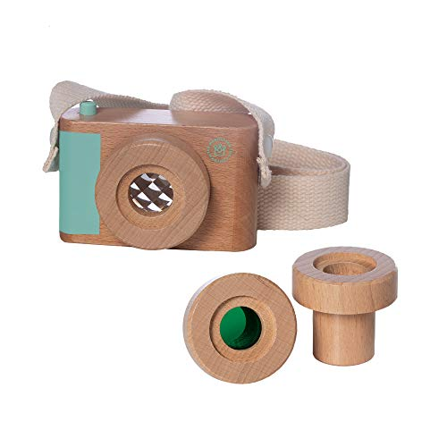Manhattan Toy Natural Historian Wooden Camera Pretend Time Play with Clear, Green & Kaleidoscope Lenses