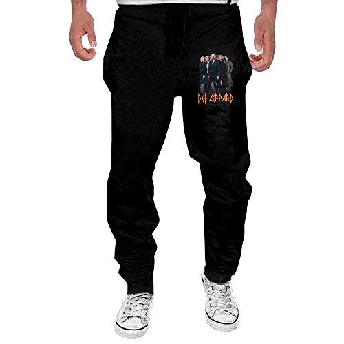 Mens Def Leppard Rock Band Men's Casual Sweatpants Pants Large Black