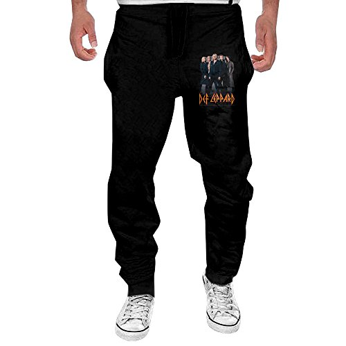 Mens Def Leppard Rock Band Men's Casual Sweatpants Pants Large Black