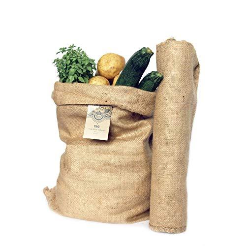 Säcke Große Jute-Natürliche grüne-Pack 2Beutel. Ideal für Küche, Garten und Huerto Urbano. Tasche Bio für Gemüse, Gemüse und knollenbildung Rustikaler Organizer 58x42cm.