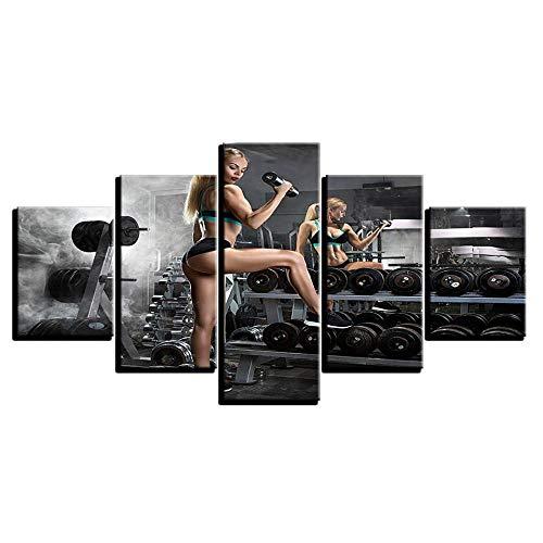 JIONGJIONG Cuadro sobre Lienzo - 5 Piezas Impresión En Lienzo De Pintura Póster De Arte Moderno Oficina Sala De Estar O Dormitorio 150X180CM Mancuernas Fitness Bodybuilding Hot Woman