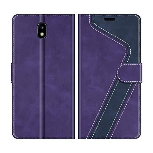 MOBESV Funda para Samsung Galaxy J5 2017, Funda Libro Samsung J5 2017, Funda Móvil Samsung Galaxy J5 2017 Magnético Carcasa para Samsung Galaxy J5 2017 Funda con Tapa, Violeta/Azul Oscuro