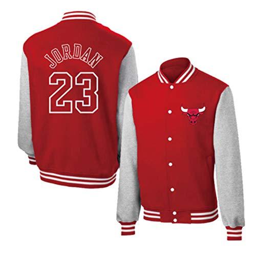 Michael Jordan Basketballtrikot Jacke, Herren Chicago Bulls 23# Rot Basketball Trikots Baseball Shirt, Langarm Retro Basketball Sweatshirt (S-XXXL) Gr. XXL, rot
