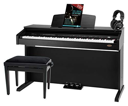 Classic Cantabile DP-210 SM E-Piano SET inkl. Bank, Kopfhörer, Schule (Digitalpiano 88 Tasten Hammermechanik, Kopfhöreranschlüsse, USB, Metronom, 3 Pedale, Piano für Anfänger, inkl. Noten) schwarz