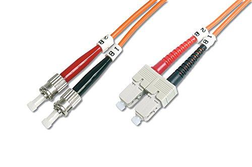 DIGITUS LWL Patch-Kabel OM2 - 1 m ST auf SC Glasfaser-Kabel - LSZH - Duplex Multimode 50/125µ - 10 GBit/s - Orange