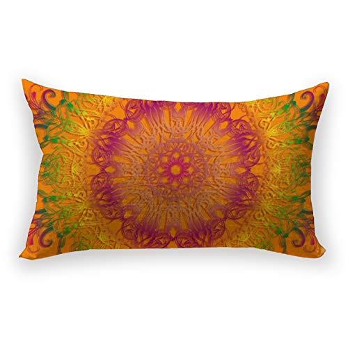Hustor Funda de almohada étnica floral mandala sobre fondo naranja, funda de almohada de lino y algodón, funda de almohada lumbar para sofá, cama, coche, 12 x 20 pulgadas