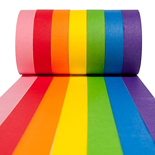 Craftzilla Colored Masking Tape – 7 Roll Multi Pack – 420 Feet x 1 Inch of Colorful Craft Tape – Vibrant Rainbow Colored Painters Tape – Great for Arts & Crafts, Labeling and Color-Coding