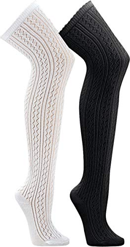 socksPur 1 PAAR Overknees Häkellook für Teenager und Damen WELLENRAND (one size, weiß)