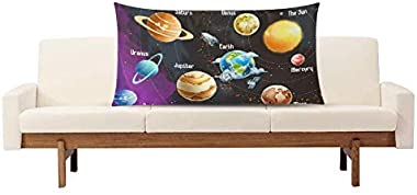 InterestPrint Funny Solar System Planets in Cartoon Style Rectangle Pillow Case Cover King Size 20x36 Inch, Decorative Zipper