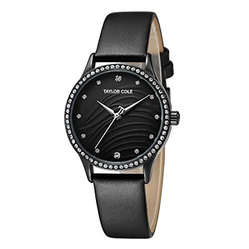 Zhou-YuXiang Anillo de Diamantes Caja de Oro Cinturón de Cuero Reloj de Cuarzo Reloj Simple Reloj de Pulsera Informal Impermeable para Hombres y Mujeres