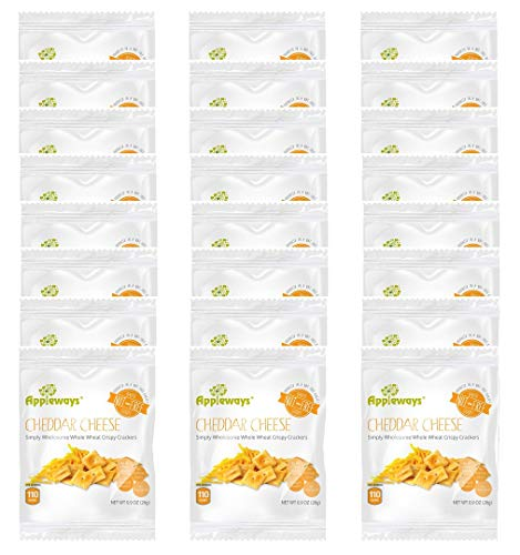 Appleways Whole Grain Cheddar Cheese Crispy Crackers | .9 Ounce | Pack of 24