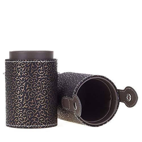ZRDY 11 Couleurs Vide Portable Voyage Maquillage Pinceaux Rond Porte-Stylo Cosmétique Cas en Cuir PU Coupe Brosse Titulaire Tube De Stockage (Color : Black Gold)