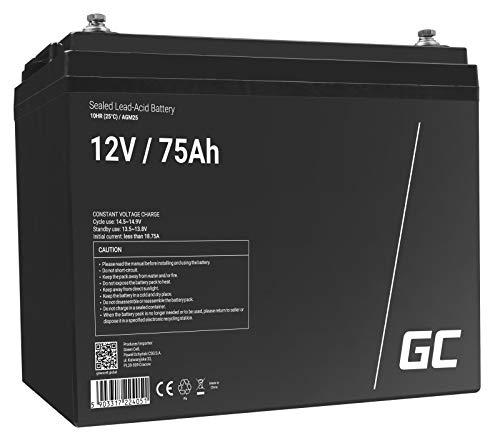 Green Cell® AGM 12V 75Ah Akku VRLA Blei-Batterie Bleiakku Ersatzakku Gelakku Akkubatterie Zyklenfest Unbemann Fischkutter | Boot | Scooter | Rasentraktor| Rasenmäher | Aufsitzmähe | Kahn