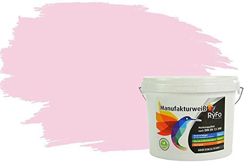RyFo Colors Bunte Wandfarbe Manufakturweiß Hellrosa 3l - weitere Rot Farbtöne und Größen erhältlich, Deckkraft Klasse 1, Nassabrieb Klasse 1